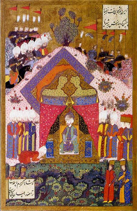 Matrakçı Nasuh'un Kanuni Sultan Süleyman'ın İran Elçisini Huzuruna Kabulünü Gösteren Bir Minyatürü - www.turkosfer.com