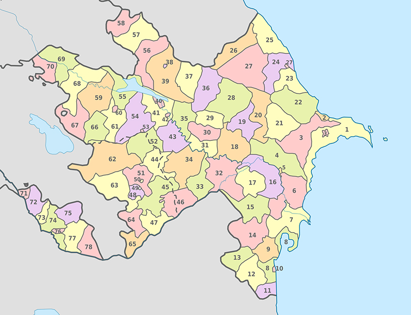 Azerbaycan İdari Haritası - www.turkosfer.com