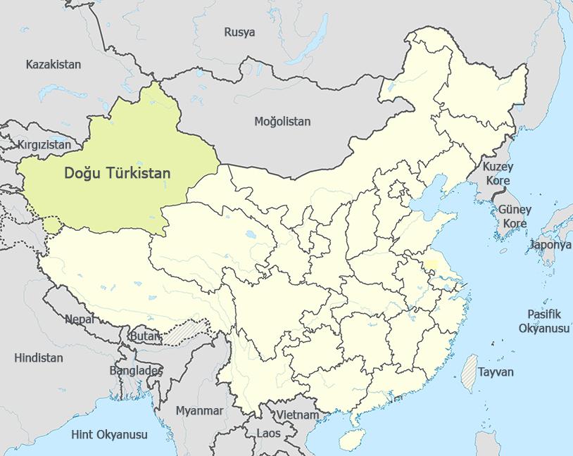Doğu Türkistan Haritası - www.turkosfer.com
