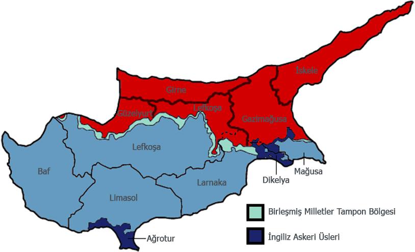 KKTC İdari Haritası - www.turkosfer.com