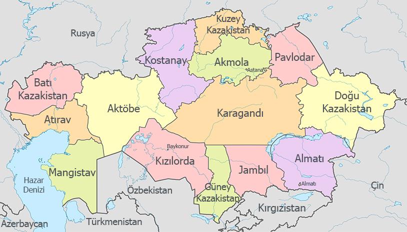 Kazakistan İdari Haritası - www.turkosfer.com