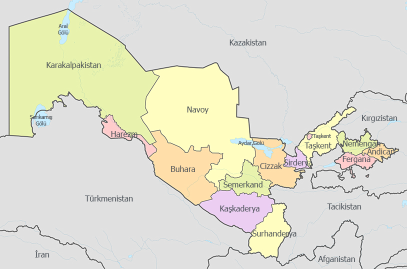 Özbekistan İdari Haritası - www.turkosfer.com