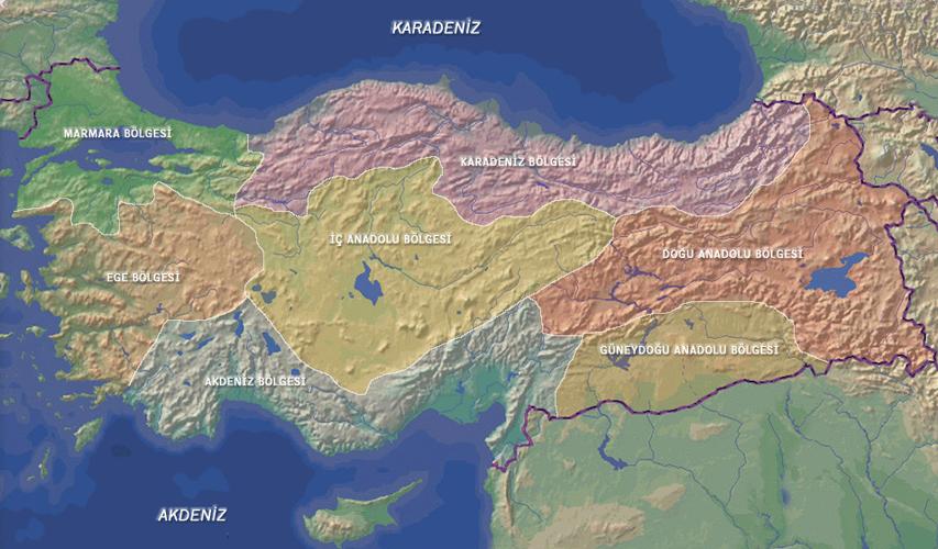 Türkiye Coğrafi Bölgeler Haritası - www.turkosfer.com