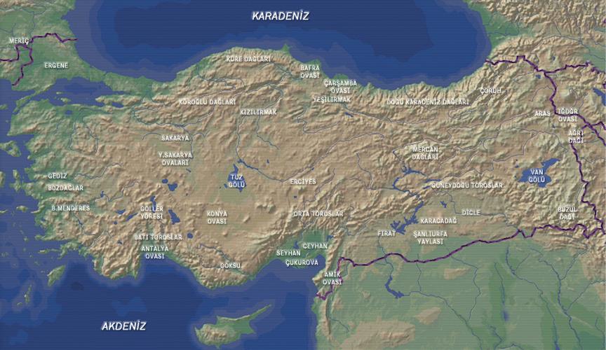 Türkiye Fiziki Haritası - www.turkosfer.com