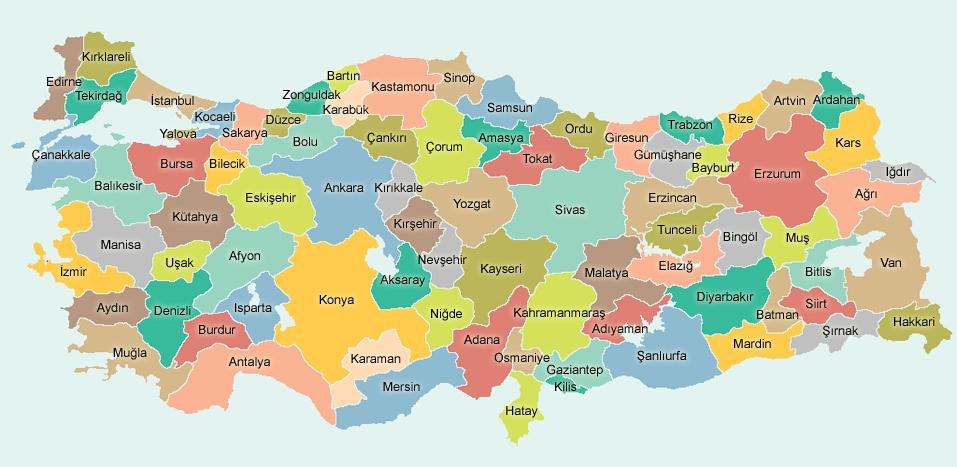 Türkiye İdari Haritası - www.turkosfer.com