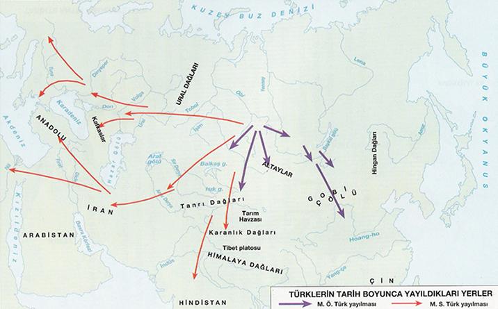 Türklerin Tarih Boyunca Yayıldıkları Yerler - www.turkosfer.com